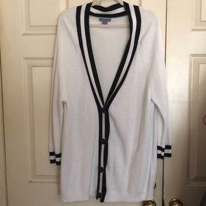 Laura Scott Button Sweater Navy Blue/White XL
